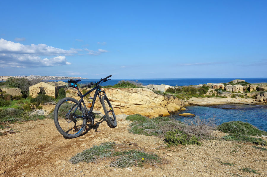 Landscape Nature Plemmirio - Pillirina 🐠 Siracusa Sicily Italy Water Sea Beach Sand Bicycle Blue Sky Horizon Over Water