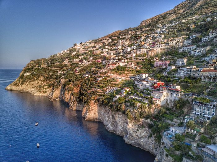 Campania coast Italy Mountain Rock - Object Nature Scenics Clear Sky Beauty In Nature Landscape Sea Blue Cliff Outdoors No People Day Water Architecture Sky
