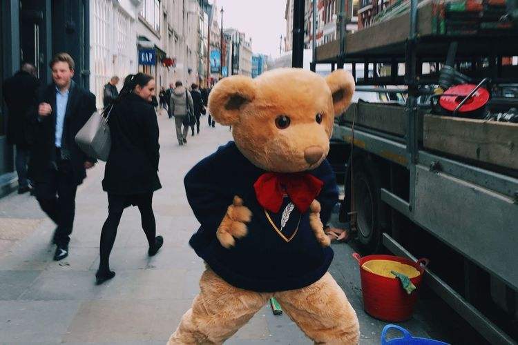 Teddybear Coventgarden LONDON❤ Funny Camouflage Lifestyles Fancy Dress Quirky Mobilephotography Urban City Up Close Street Photography