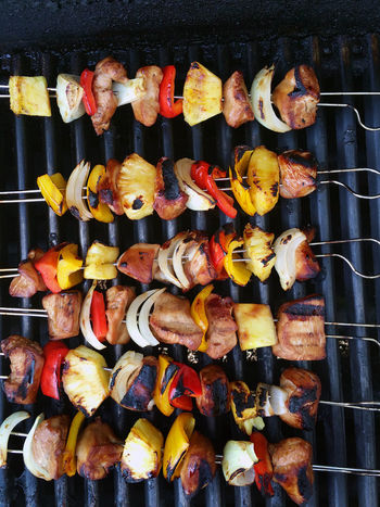 Kabobs on the grill Beautifully Organized Food Barbecue Barbecue Grill Grilled Food And Drink Freshness Healthy Eating Freshness Close-up Cooking BBQ Grill Grilling Grilled Meat Meat! Meat! Meat! Food Photography FoodphotographyLarge Group Of Objects Food And Drink Kabobs Kabob In A Row Full Frame Eating Healthy