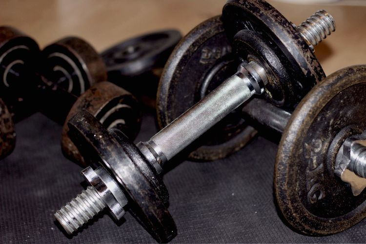 Close-Up Of Dumbbells At Home