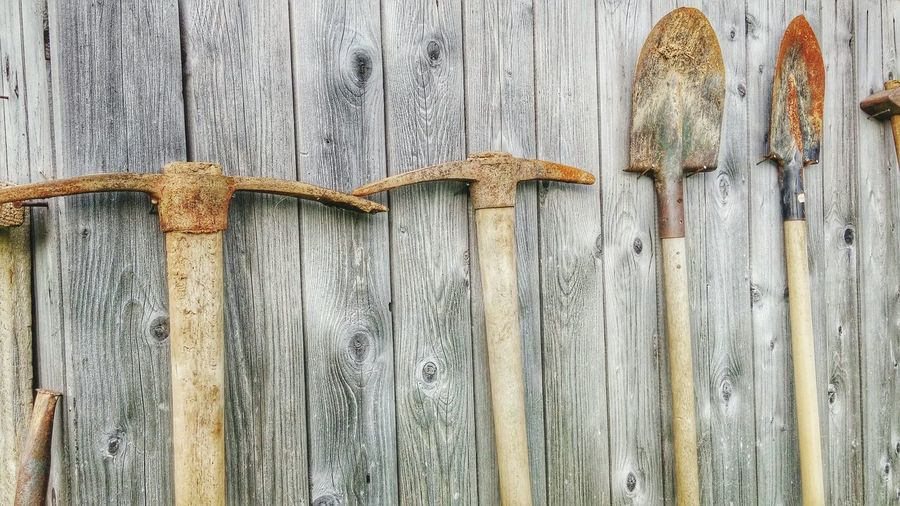 Tools against wooden wall