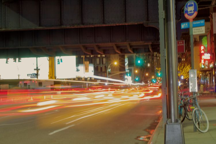 Night pause Architecture Blurred Motion Built Structure City Illuminated Light Trail Long Exposure Motion Newyorkcity Night No People Outdoors Road Speed Street Transportation Tripod Photography