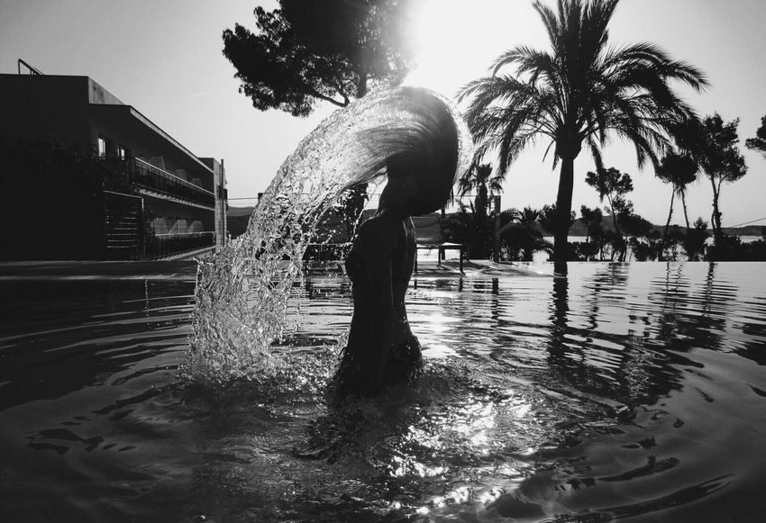 Be water my friend. Photography In Motion Blackandwhite Monochrome Sexygirl Woman Water Pool Things I Like Holiday Taking Photos Enjoying Life EyeEm Best Shots Showcase April Let Your Hair Down Found On The Roll