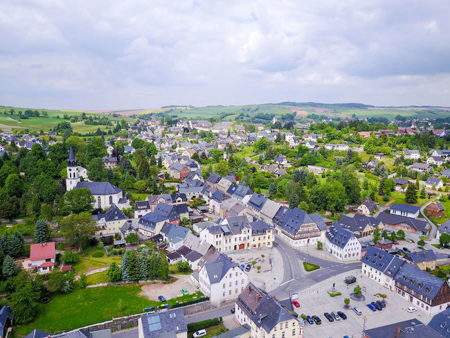 aerial view of a small town in germany Architecture Building Building Exterior Built Structure City Cityscape Cloud - Sky Day Environment High Angle View House Landscape Nature No People Outdoors Plant Residential District Sky Town TOWNSCAPE Tree