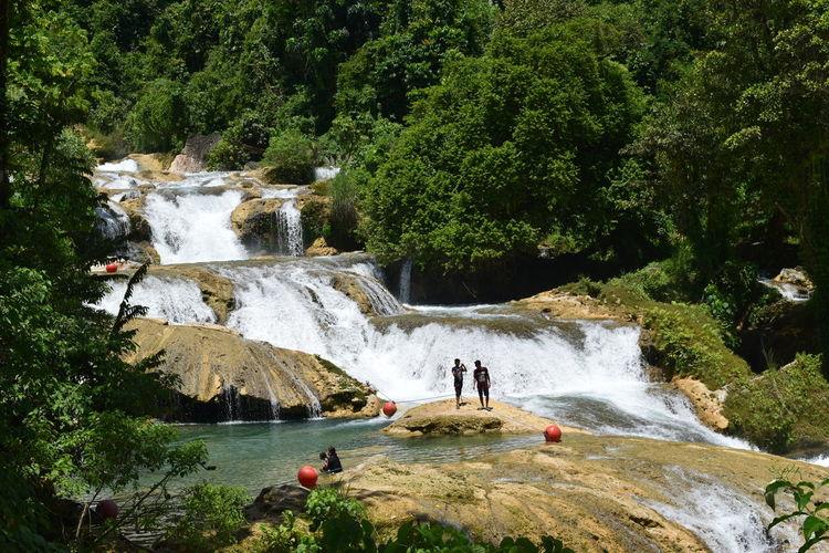 Friends Enjoying Waterfall In Forest