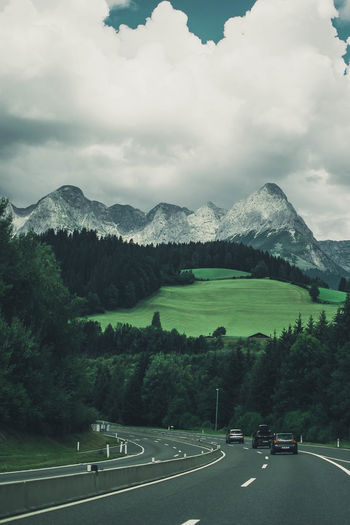 Alpine Austria Austria ❤ Beauty In Nature Car Cloud - Sky Day Environment Landscape Mode Of Transportation Motor Vehicle Mountain Nature No People Non-urban Scene Outdoors Plant Road Scenics - Nature Sky Tranquil Scene Transportation Tree The Traveler - 2018 EyeEm Awards