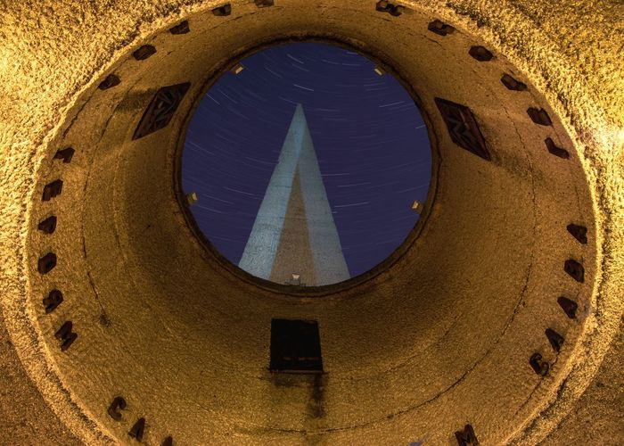 """Memorial complex """"Three bayonets"""" Memorial Long Exposure From My Point Of View By Ivan Maximov Eyeem Photo The Week On EyeEm Belarus City Panoramic View Vitebsk,Belarus Great Outdoors Travel Destinations Traveling Star Trails Night View Circle Architecture Window Full Frame Built Structure Low Angle View Illuminated Textured  No People Indoors  Close-up Night Astronomy"""