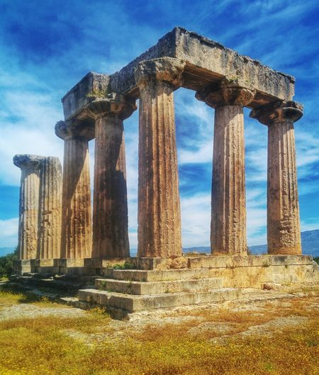 The Apollo Temple in Ancient Corinth, Greece Ancient Corinth Corinth Greece Apollo Temple Apollo Temple Architecture Sightseeing Landmark Travel Ancient Architectural Column Built Structure Architecture Travel Destinations Old Ruin History Ancient Civilization Ancient