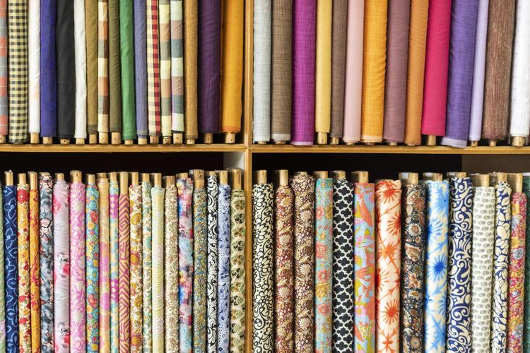 Full frame shot of multi colored garment for sale in store