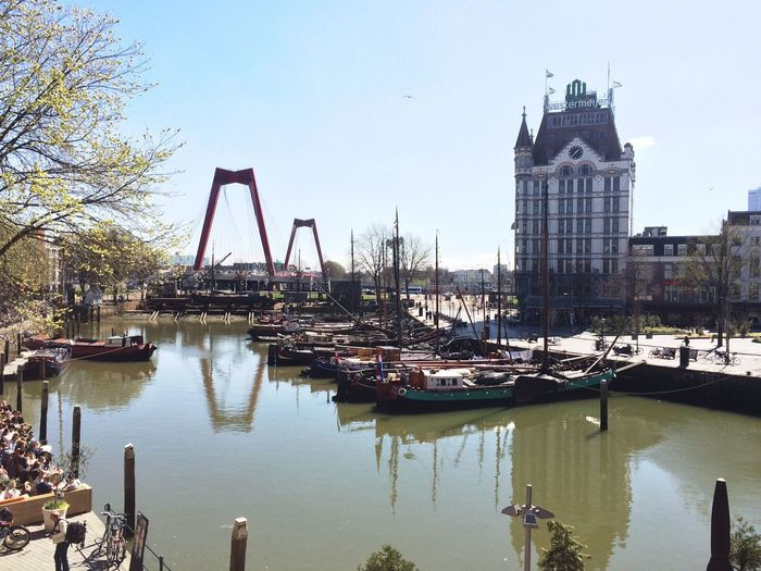 Rotterdam Old Harbour Bridge Boats Canal City Europe Dutch Netherlands