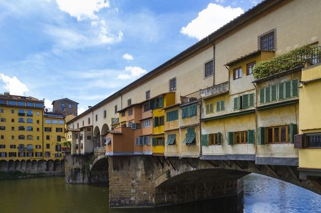 Florence, Italy, Ponte Vecchio Architecture Arno River Blue Building Built Structure Canal City City Life Cloud Cloud - Sky Day Florence Florence Italy No People Outdoors Ponte Vecchio Ponte Vecchio - Firenze Residential Building Residential District Residential Structure River Sky Travel Destinations Tuscany Water