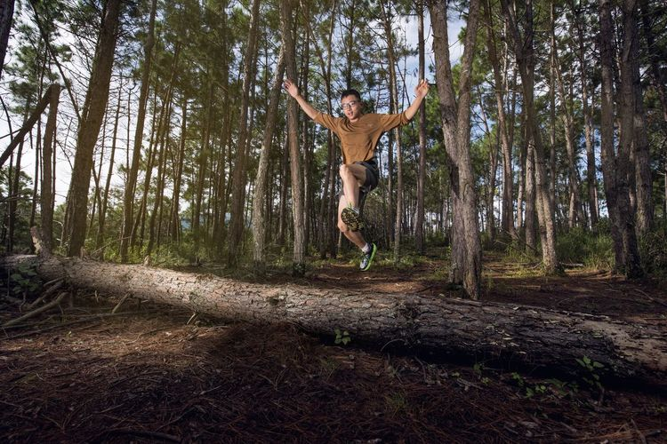 Man jumping from tree trunk in forest