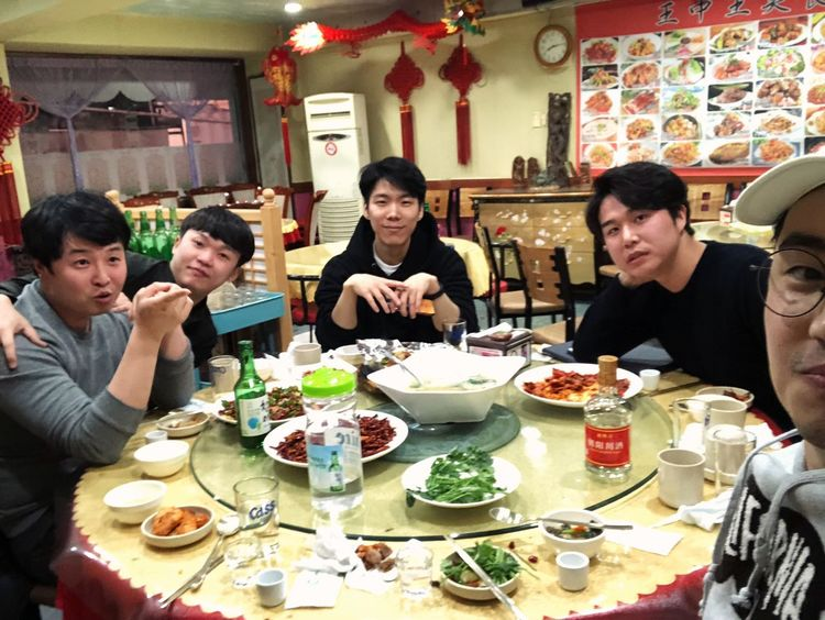 with ma friends Food And Drink Togetherness Table Sitting Mid Adult Happiness Indoors  Food Friendship Real People Enjoyment Eating Young Adult Lifestyles Smiling Freshness Day