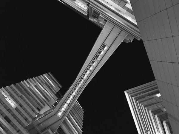 Black and White Architecture Building Exterior Built Structure Low Angle View Modern City Skyscraper No People Outdoors Day Sky Bestoftheday Taiwan Lines And Shapes