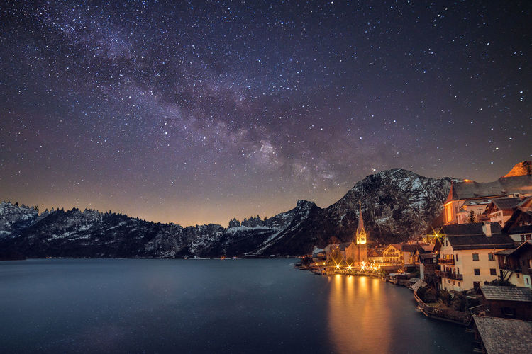 Scenic View Of Lake By Mountains Against Milky Way At Night