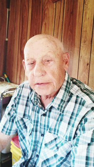 Grandpa, WW2 Vet, Factory Worker, Family Man 92 Years Old Strong Love Caring Sharp Intelligent Hard Work Strength This Is Masculinity Portrait Men Close-up One Senior Man Only Checked Pattern Silver Surfer Balding This Is Aging
