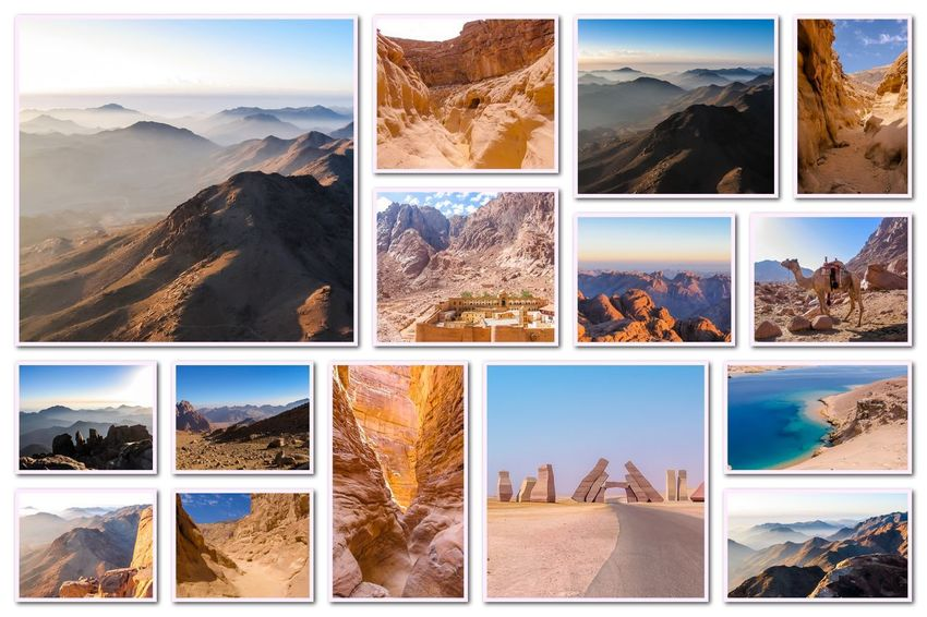 Egypt pictures collage of different famous locations landmark of Sinai Peninsula, Africa. Collage Collages Egypt Landmarks Ras Mohammed Sinai Peninsula Aerial View Allah Door Backgrounds Beauty In Nature Collage Day Desert Beauty Egyptian Isolated White Background Landmak Landscape Location Mountain Multiple Image Nature No People Outdoors Sinai Sinai Egypt Sky Variation