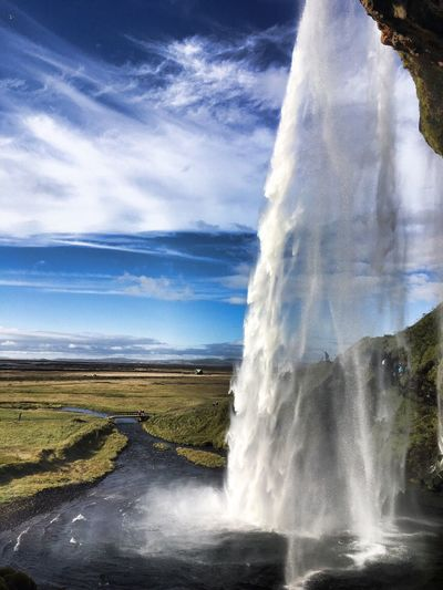 Sky Nature Beauty In Nature Water Waterfall Iceland Scenics Travel Destinations Cloud - Sky Power In Nature Outdoors Motion Landscape Day Travel Adventure Picoftheday Like4like The Great Outdoors - 2017 EyeEm Awards