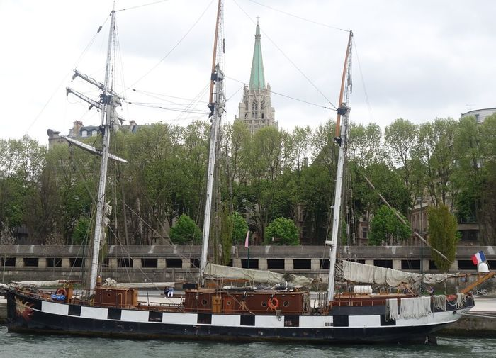 Nautical Vessel Moored Ship Mast Harbor Sailing Ship River Seine River Seine Banks Transportation Seineriver Tree Water Day Sky Business Finance And Industry Outdoors Ferris Wheel No People Tall Ship City