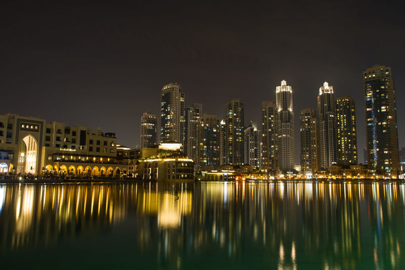 Architecture Building Exterior Built Structure Capital Cities  City City Life Cityscape Connection Crowded Development Dubai Engineering Horizontal Symmetry Illuminated International Landmark Modern Nightphotography Office Building Reflection River Skyline Skyscraper Tower Water Reflections