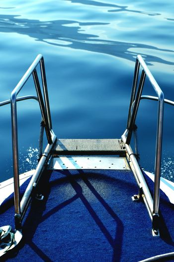 Step ladder at swimming pool