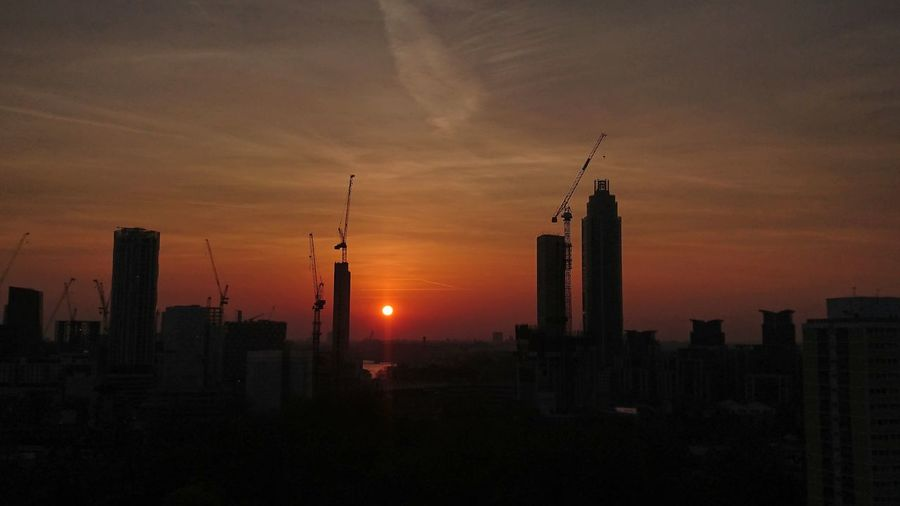 View Of Silhouette City At Sunset