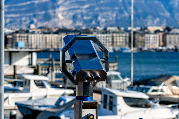 View of coin operated binoculars at harbor