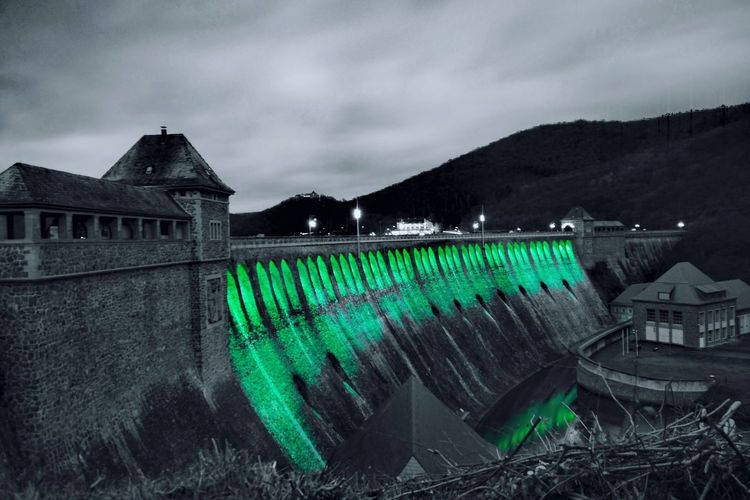 illuminated Edersee Germany Sperrmauer Nightphotography My Point Of View Colorsplash Green Long Exposure Winter Sky Architecture Building Exterior Cloud - Sky Scenics Storm Cloud Light Painting Dramatic Sky