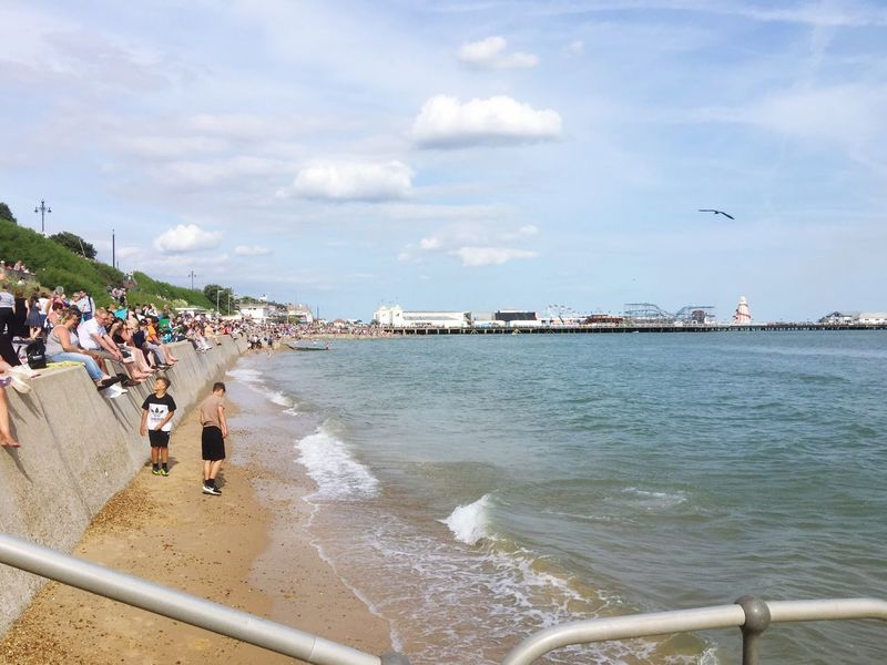 Large Group Of People Sky Cloud - Sky Sea Water Built Structure Real People Day Architecture Men Vacations Beach Outdoors Leisure Activity Women Nature Lifestyles Travel Destinations Building Exterior Beauty In Nature Essex Sunshine Coast Clacton-on-Sea East Anglia Essex Pier