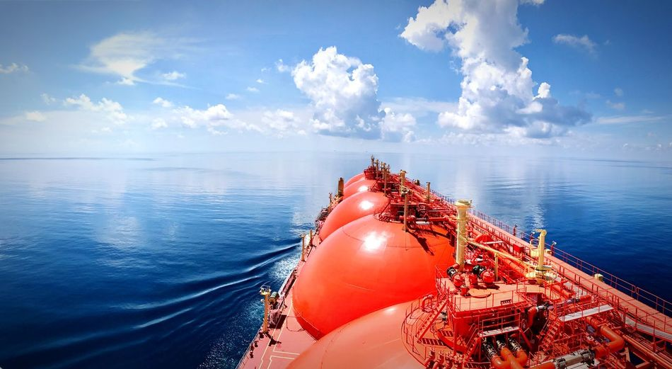 Ship on sea against sky
