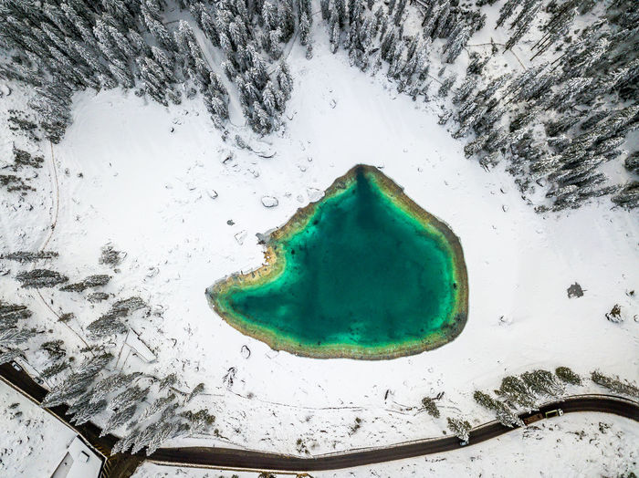 Green Color No People High Angle View Nature Cold Temperature Close-up Water Snow Day Outdoors Directly Above Winter Frozen Motion Environment Land Paint Turquoise Colored