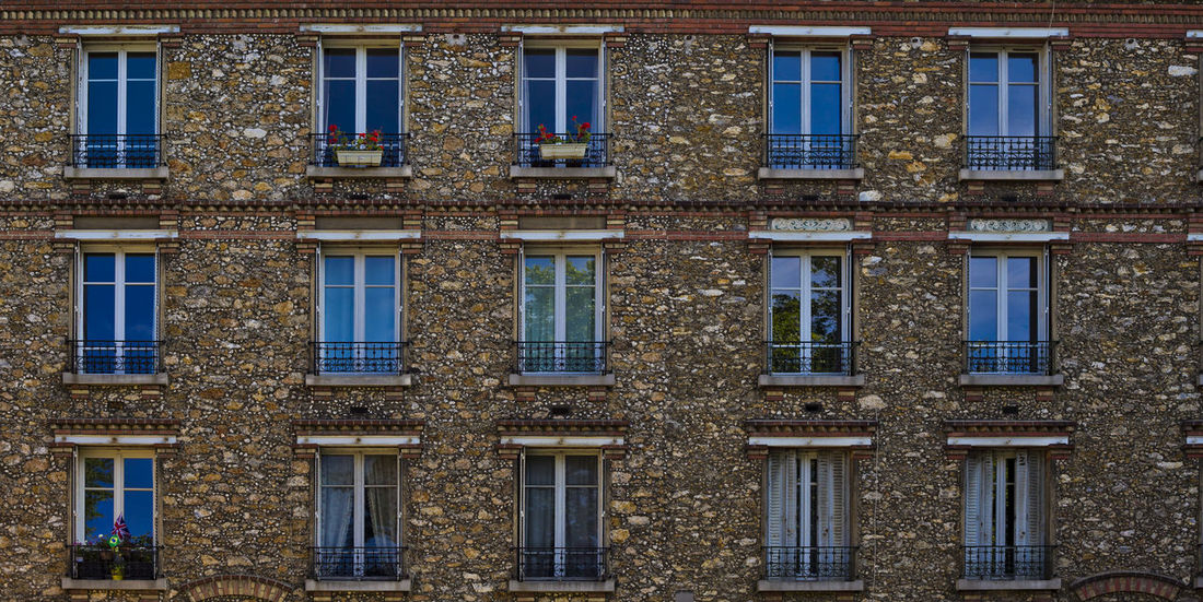 windows of house facade in Versailles Paris France Architecture Backgrounds Building Exterior Built Structure City Day Details France Full Frame No People Outdoors Paris Reflections Season  Spring Versailles Window Windows Flying High EyeEm Best Shots - Architecture