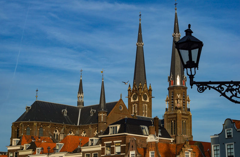 Delft City Center Church City Center Delft Gothic Architecture Building Building Exterior History Holland Low Angle View Medieval No People Outdoors Sky Spirituality Tower Town Town Square Travel Destinations
