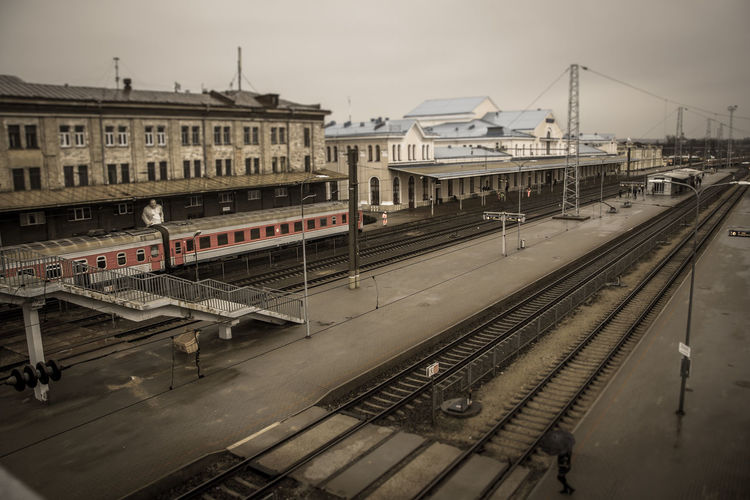 High Angle View Of Empty Railway Station