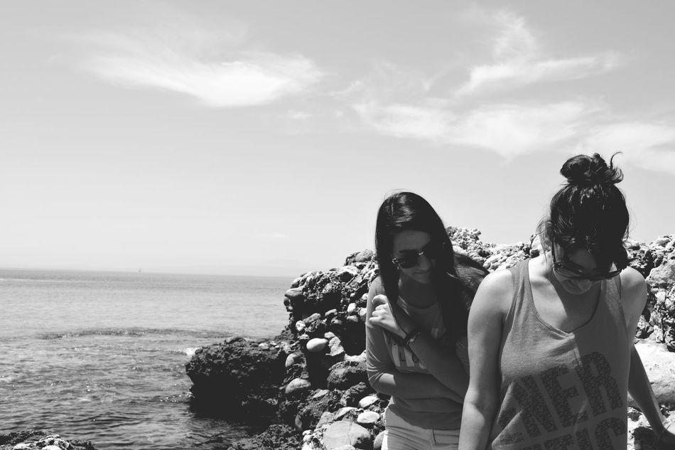 Photography Love Greece CrazyGirl♥ Girl Sea White Black Stoupa Beachphotography