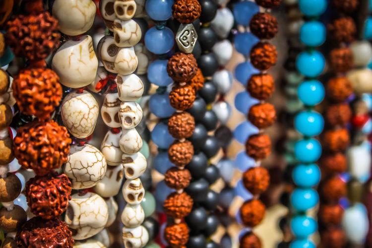 Full frame shot of beads hanging for sale