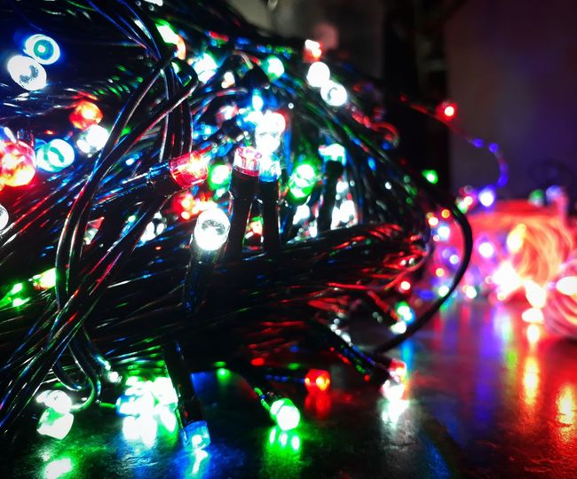 Night Illuminated Multi Colored Christmas Lights No People Nightlife Christmas Decoration Indoors  Close-up