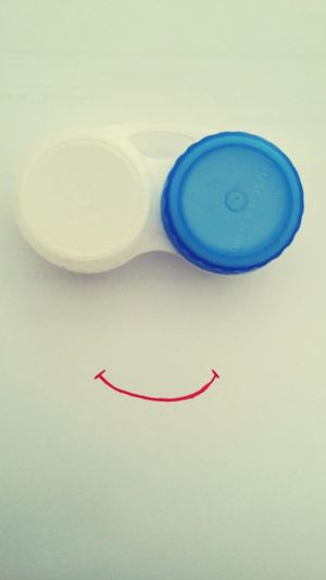 white background red smile simplicity Contact Lenses Box White And Blue Everything Is Art HEAD