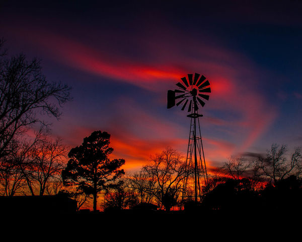 Alternative Energy Beauty In Nature Blue Sky Nature No People Orange Sky Outdoors Red Sky Silhouette Sky Sunset Sunsets Texas Tree Windmill Windmill