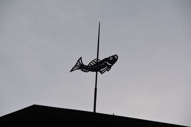 Low Angle View Of Silhouette Fish Shape Weather Vane Against Sky