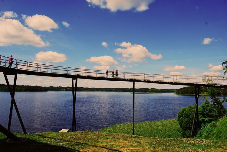 Panoramic view Water Sky Cloud - Sky Architecture Nature Built Structure Tranquility River Tranquil Scene Beauty In Nature Scenics - Nature Connection Day Plant Bridge Outdoors Railing Sunlight