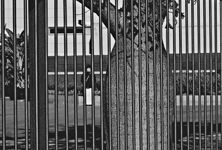 Behind Bars Architecture Avinguda Diagonal Barcelona Bars Behind Bars Day Diagonal One Person Outdoors People Railings Sabino Arana Symmetrical Symmetry Tree Adapted To The City