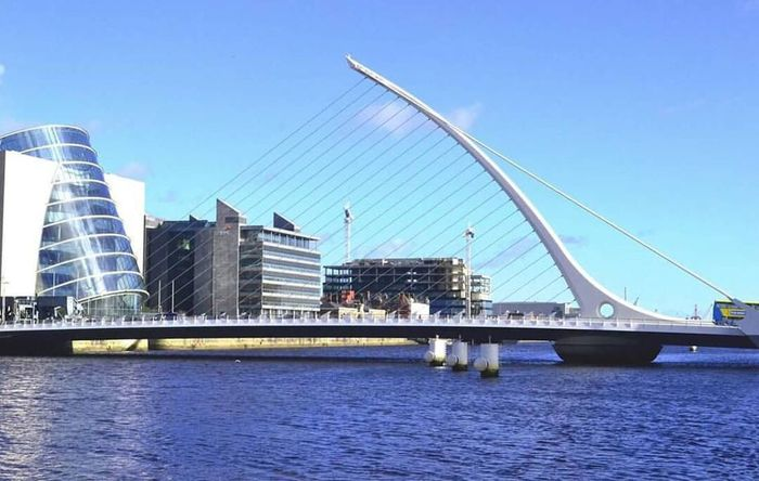 The brilliant Architecture and a heavily Built Structure of the Samuel Beckett Bridge in Dublin, Ireland .