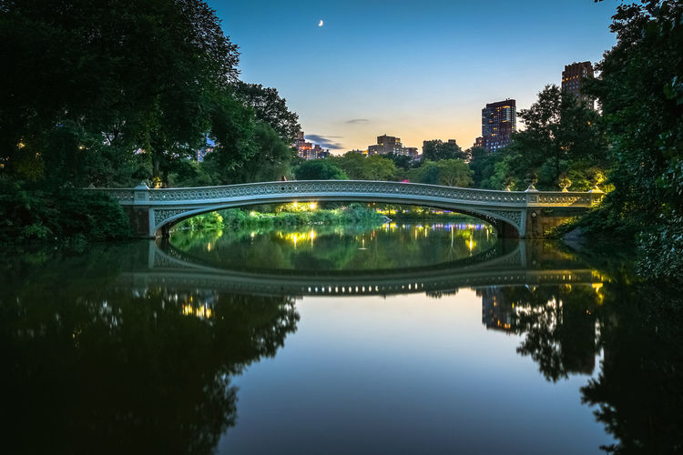 Bow Bridge Central Park New York City Romantic Landscape Sunset_collection Tourist Architecture Bridge - Man Made Structure Built Structure Connection Growth Illuminated Landmark Moon Nature No People Outdoors Reflection Sky Sunset Tree Water Waterfront