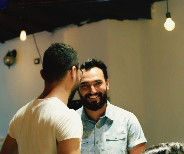 Smiling Happiness Beard Togetherness T-shirt Mid Adult Men Mid Adult Enjoyment Fun Headshot