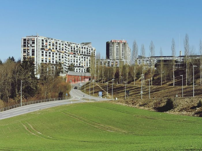 Scenic view of field by buildings against sky