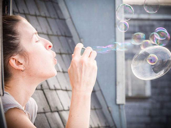Happiness Paris Roof Woman Blowing Bubbles Bubble Bubble Wand Day Girl Outdoors Soap Bubbles Window Woman Portrait