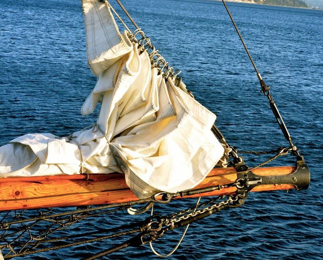 Close-Up Of The Wooden Bowsprit Of A Sailboat