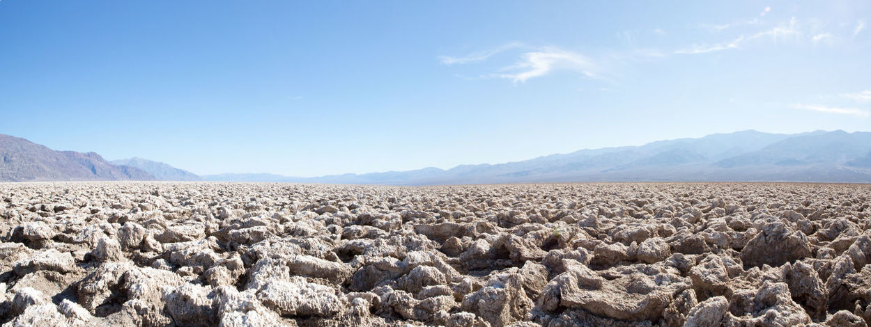 Death Valley Dessert Holiday Hot Panorama Rock Formation Salt America Beauty In Nature Blue Day Devils Golf Course Dry Landscape Mountain Mountain Range Nature No People Outdoors Rock - Object Salt Basin Scenics Sky Tranquil Scene Tranquility